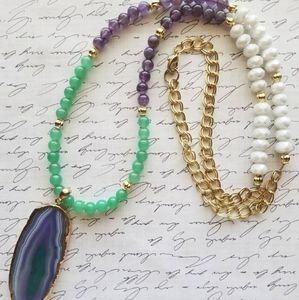 Jewelry - Jade 💚 Amethyst 💜 Gold💛 Long Boho Necklace